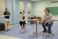 (Left to Right) Communication students Hunter Thomas, Allison Berres, and Benjamin Evans perform scenes in Lucy Prebble's play, The Effect, during rehearsals on February 23, 2017, in room 242 of Washington Hall. (Photo: Jamie Sapp)