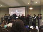 """The University Singers performed a few hymns and poems, along with a rendition of """"Rockin' in Jerusalem."""" (Photo: Skyler Mitchell)"""